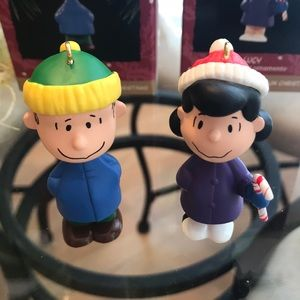 Linus and Lucy vintage Christmas ornaments.